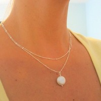 Double Strand Necklace, Bridesmaid Gifts, Pearl Necklace, Beaded Sterling Silver Chain with Coin Pearl