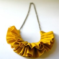 linen ruffle necklace in mustard yellow by prettythingsbymeg
