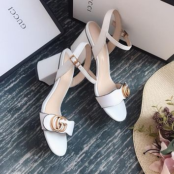 Gucci GG Women White Leather Mid-heel Sandals