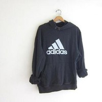 Vintage ADIDAS sweatshirt. Hooded sports sweatshirt. Faded black cotton boyfriend hood