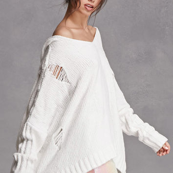 Distressed Hooded Poncho