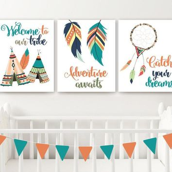 TRIBAL Nursery Wall Art, TRIBAL Canvas or Prints Tribal Woodland Pictures, Tribal Feathers Tee Pee Tribe Dream Catcher Adventure Set of 3