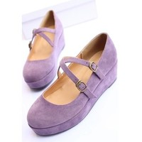 Free Delivery Lolita Purple Wedges Shoes