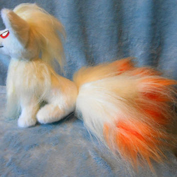 Pokemon inspired sitting Ninetales Ninetails Kyukon (20 cm high plush, small size) plushie made of minky and faux fur, super cuddly!