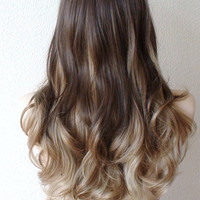Brown / Toffee / Dirty blonde ombre wig.  Long curly hair with side bangs wig. High quality synthetic wig.
