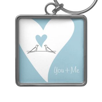 Cute White Doves in Love Personalized Keychains: Sweet Gift Idea for Wedding Favors, Valentine's Day, or Anniversaries: You + Me