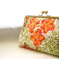 Ruth - Orange flower burst clutch lined in dupioni silk | juliasherrydesigns - Wedding on ArtFire