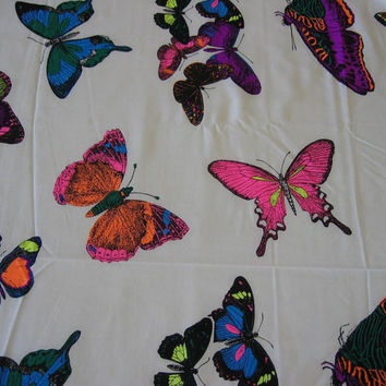 Vintage Fabric Neon Butterflies - 4 YARDS