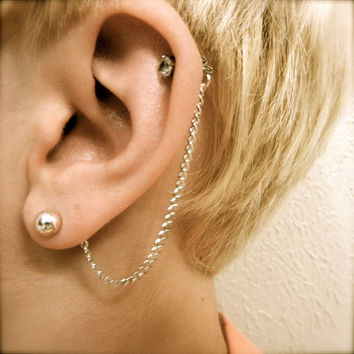 Cartilage Chain on Earring Backs - Silver