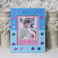 Princess Gifts - Girls Room Decor - Princess Birthday - Gils Gifts - Personalized Name - Girls Frame - 5x7 Frame - Blue Frame - Gifts