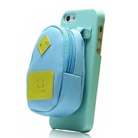 Creative Backpack Storage Leather Phone Case For iPhone 4/4S (Blue)