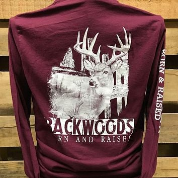 Backwoods Deer Scene Hunt Buck Unisex Long Sleeves T Shirt