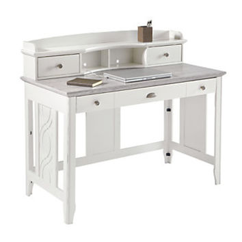 See Jane Work Charlotte Faux Marble Desk With Hutch 39 H x 47 14 W x 23 12 D White by Office Depot & OfficeMax