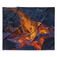 "KESS Original ""Red Hot"" Blue Orange Fleece Throw Blanket"