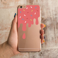 360° Full Protection Melting Ice Cream Transparent iPhone Cover Cute Case