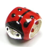 Queenberry .925 Sterling Silver Enamel Ladybug Red Black Bead Charm For European Charm Bracelets