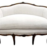 French Linen & Zebra Hair-on-Hide Settee