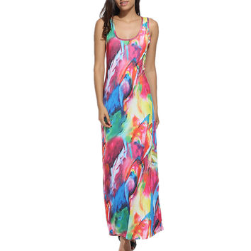 2017 Fashion Women Colourful Printed Dress Summer Beach Maxi Dresses Casual Elastic Dress for Spring Break Summer Holiday