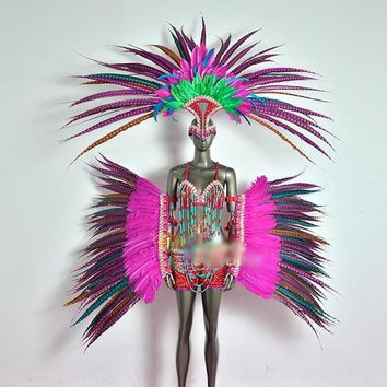 Exotic Feather Carnival Dancewear Wings Cosplay Costume