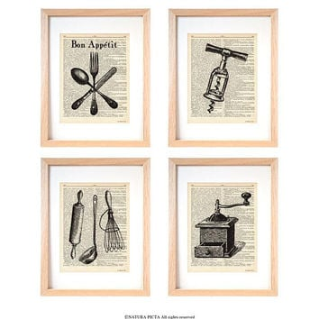 French Kitchen prints set of 4-Victorian dictionary print-kichen wall art-kitchen decor-victorian wall art-housewarming gift-rustic-DP248