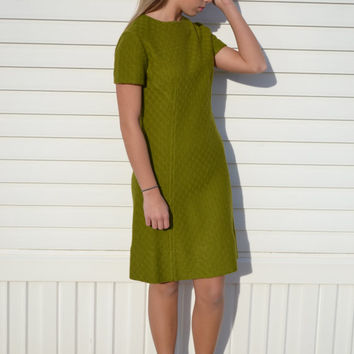 1950s 1960s Green Textured Dress, Vintage Olive Dress, Mad Men, Party Dress, Retro, Mod, Size Medium, Size Small,  Women's Clothing