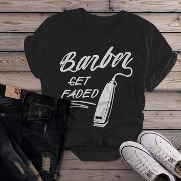 Women's Barber T-Shirt Get Faded Vintage Tee Clippers Barbers Shirt