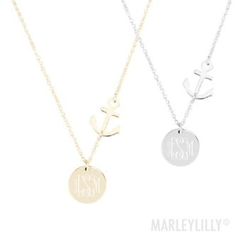 Monogrammed Anchor Necklace | Marleylilly