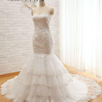 High End Sweetheart Strapless Beading Lace Mermaid Wedding Dress With Chapel Train Real Bridal Gown