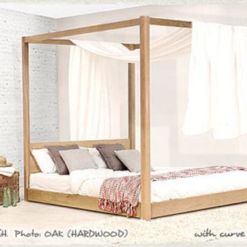 Low Four Poster Hardwood Bed Frame by Get Laid Beds