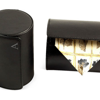 Monogram Leather Tie Roll, Black, Storage Boxes & Bins
