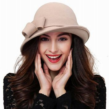 New Arrival Wool hat Autumn Winter Noble European American Elegant Girls Fashion Cap Ladies Bucket Hat Women Wool Fedora Hat