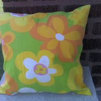 Funky Retro Look Accent Pillow Cover 14 Inch Square Upcycled 14 X 14