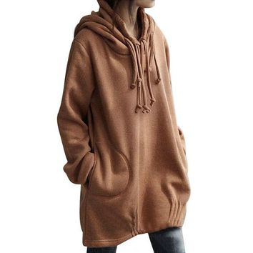 DCCKNY6 Fashion Women Hoody Sweatshirt Pullover Solid 2017 Autumn Winter New Long Sleeve Shirt Blouse Pocket Casual Hooded Sweatshirts