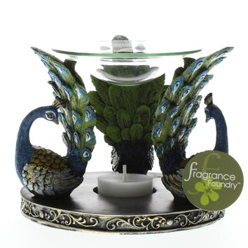 Oil Warmers, Fragrance Oil Warmer, Elegant Expressions Peacock Plume Oil Warmer