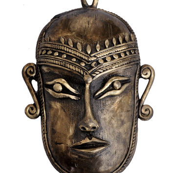 The Mask on the Wall - Small Tribal Mask Wall Hanging in Primitive Dhokra Art - Rustic, Country Decor Bronze Metal Statues and Sculptures