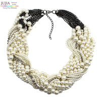2016 New fashion Z bib collar necklace & pendant chunky luxury choker simulated pearl Necklace statement necklace