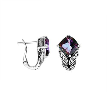 AE-6233-MT Sterling Silver Earring With Mystic Topaz