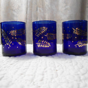 3pc Cobalt Blue Gold Leaves Candle Holder Home Decor Boho Alter Shabby Hippie Chic Boho Shot