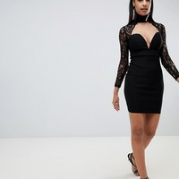 Rare London high neck sweetheart lace dress at asos.com