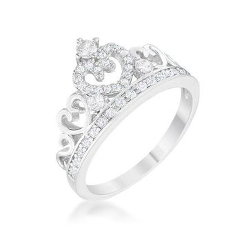 Silver Heart Crown Ring
