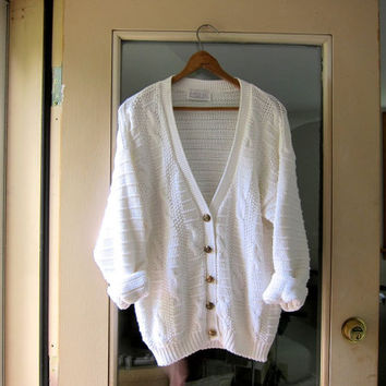 Slouchy White Sweater 90s Cardigan Cotton Knit Preppy Grandpa Sweater Button Up Vintage Minimal Cable Knit Sweater Women's Medium Large
