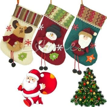 ESBONHS 2015 Modern New Santa Claus Christmas Stocking Hanger Xmas Ornaments Plush Candy Gift Bags
