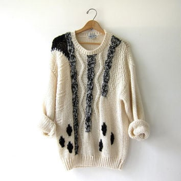 vintage slouchy sweater. oversized loose knit sweater. Abstract pullover. Cream & black.