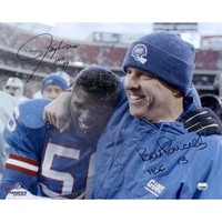 Lawrence Taylor & Bill Parcells New York Giants Dual Autographed 16'' x 20'' Hugging Photograph with HOF 99 Inscription