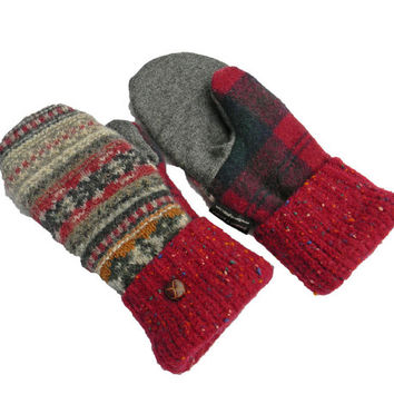 Wool Mittens, Sweater Mittens, Recycled Mittens, 100% Wool Navy Burgundy Maroon Gray Fair Isle Women's Fleece Lined Plaid SweatyMitts Gift