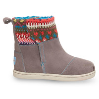 Grey Stripe Knit Tiny TOMS Nepal Boots