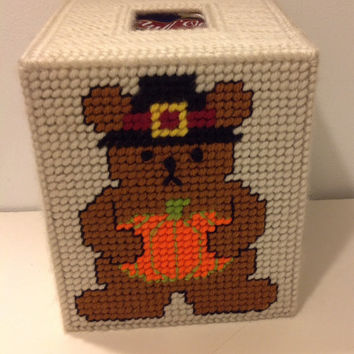 Pilgrim Bear Tissue Box Cover, Thanksgiving Decor, Fall Decor, Teddy Bear, Teacher Gift, Office Decor, Plastic Canvas, Pumpkin, Holiday Gift