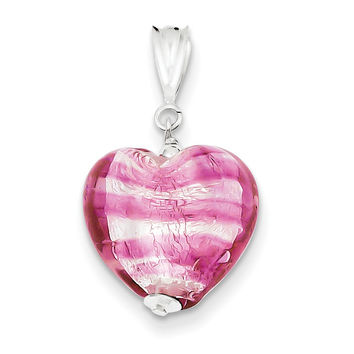 Sterling Silver Rose Heart Murano Glass Pendant MUR33