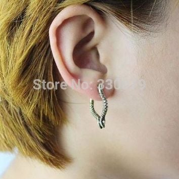 ES592 Style Fashion Vintage Exaggerated Snake Clip Earrings Jewelry Accessories Special design Rings for women
