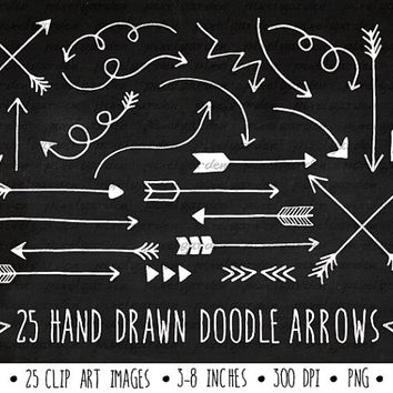 SALE - 30% OFF. White Arrows Clip Art Set. Hand Drawn Arrows Clipart. Chalkboard Doodle Arrows. Tribal Arrow Images. Chalkboard Clipart.